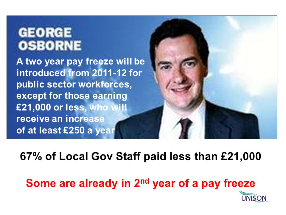 67% of Local Gov Staff paid less than £21,000 Some are already in 2 nd year of a pay freeze A two year pay freeze will be introduced from 2011-12 for