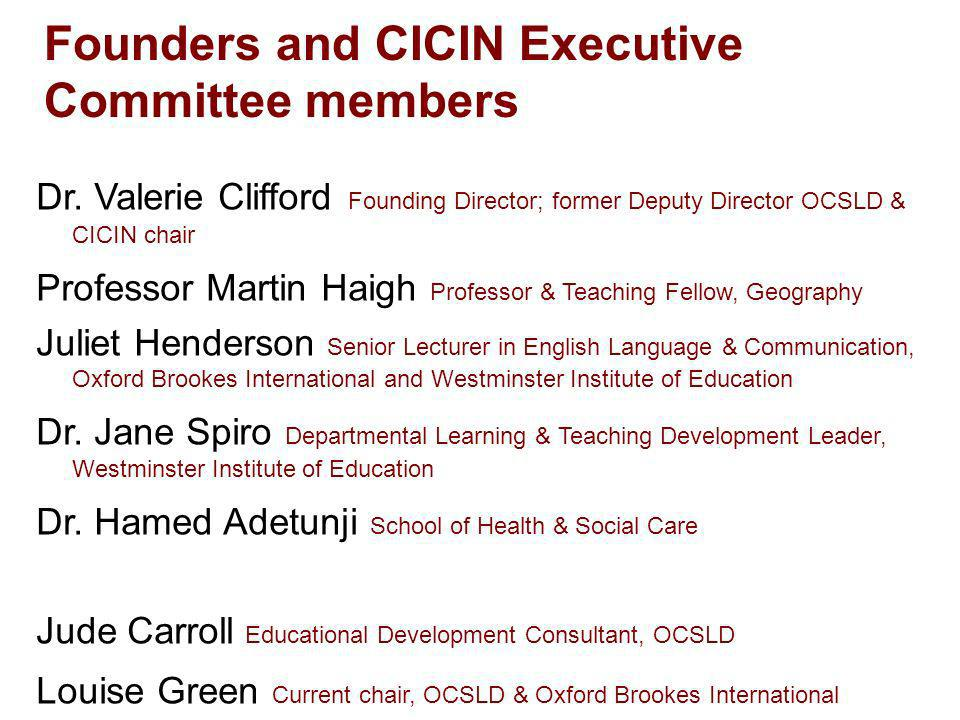 Founders and CICIN Executive Committee members Dr.