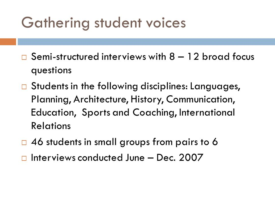 Gathering student voices Semi-structured interviews with 8 – 12 broad focus questions Students in the following disciplines: Languages, Planning, Arch