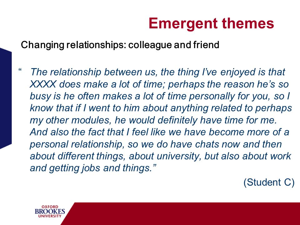 Emergent themes The relationship between us, the thing Ive enjoyed is that XXXX does make a lot of time; perhaps the reason hes so busy is he often makes a lot of time personally for you, so I know that if I went to him about anything related to perhaps my other modules, he would definitely have time for me.