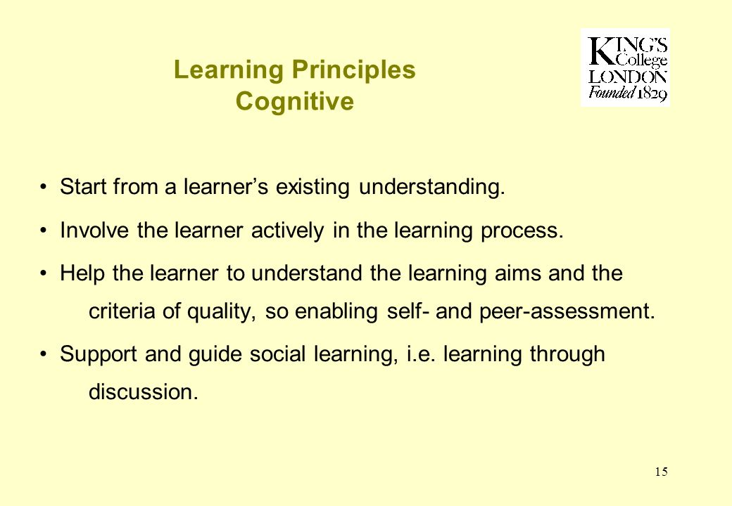 15 Learning Principles Cognitive Start from a learners existing understanding.