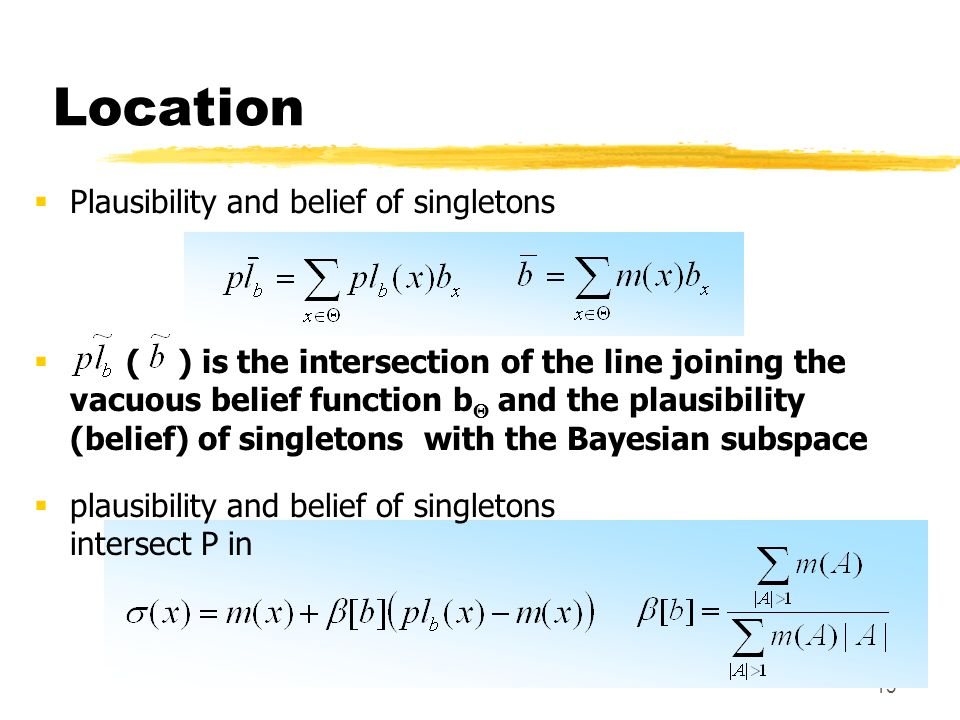 13 Location Plausibility and belief of singletons ( ) is the intersection of the line joining the vacuous belief function b and the plausibility (belief) of singletons with the Bayesian subspace plausibility and belief of singletons intersect P in