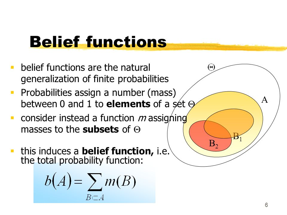 6 A Belief functions B2B2 B1B1 belief functions are the natural generalization of finite probabilities Probabilities assign a number (mass) between 0
