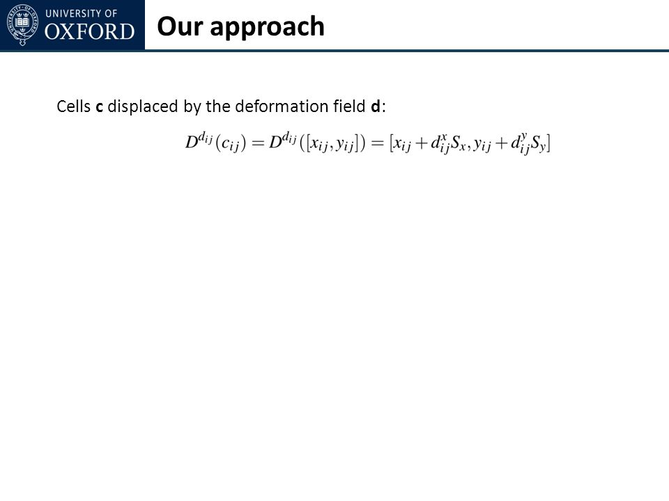 Cells c displaced by the deformation field d: Our approach
