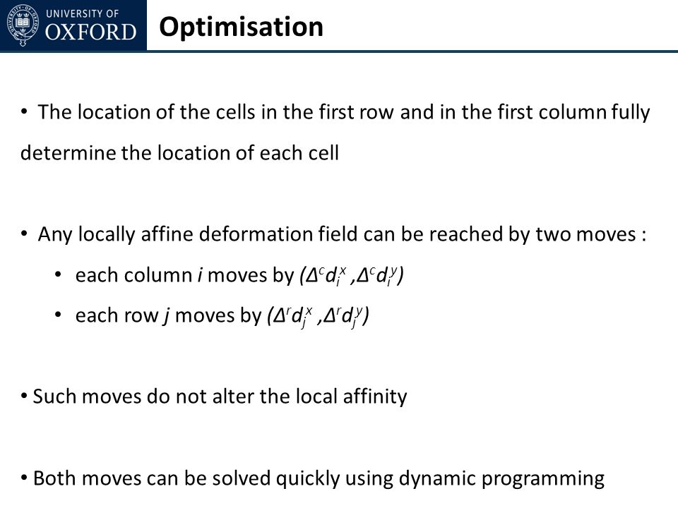 Optimisation The location of the cells in the first row and in the first column fully determine the location of each cell Any locally affine deformation field can be reached by two moves : each column i moves by (Δ c d i x,Δ c d i y ) each row j moves by (Δ r d j x,Δ r d j y ) Such moves do not alter the local affinity Both moves can be solved quickly using dynamic programming