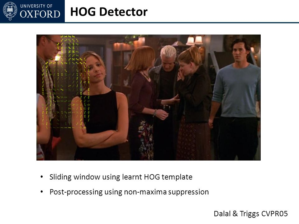Dalal & Triggs CVPR05 HOG Detector Sliding window using learnt HOG template Post-processing using non-maxima suppression