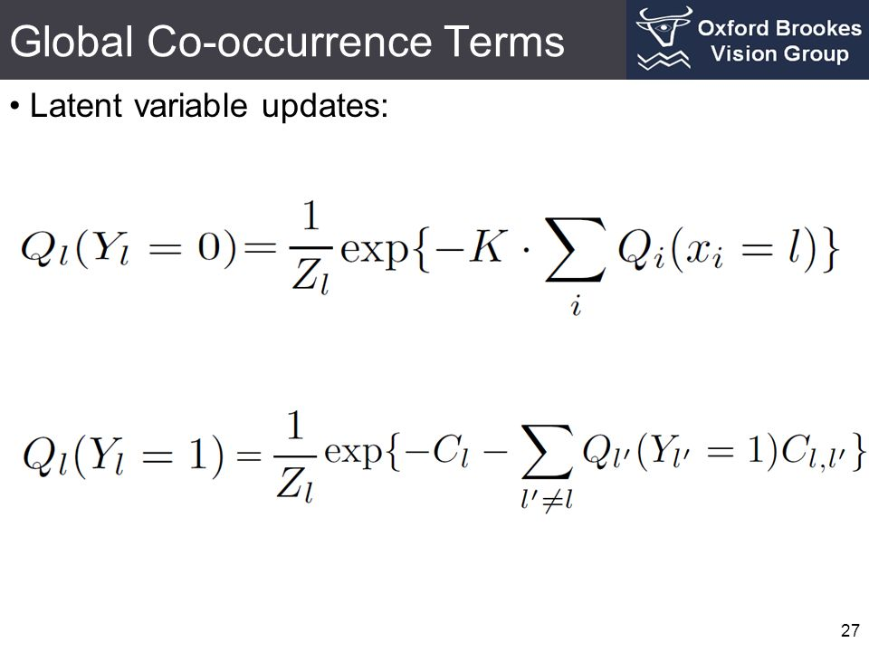 Global Co-occurrence Terms Latent variable updates: 27