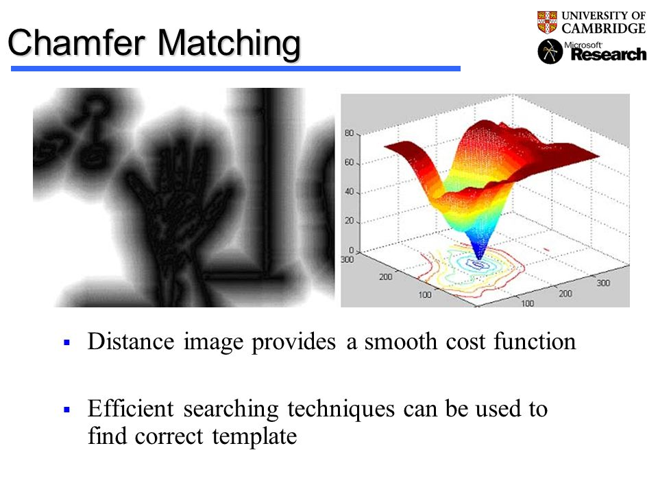 Chamfer Matching Distance image provides a smooth cost function Efficient searching techniques can be used to find correct template
