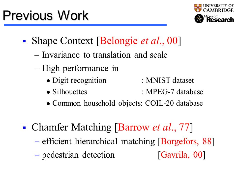 Previous Work Shape Context [Belongie et al., 00] –Invariance to translation and scale –High performance in Digit recognition : MNIST dataset Silhouet