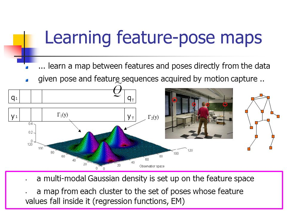 Learning feature-pose maps... learn a map between features and poses directly from the data given pose and feature sequences acquired by motion captur