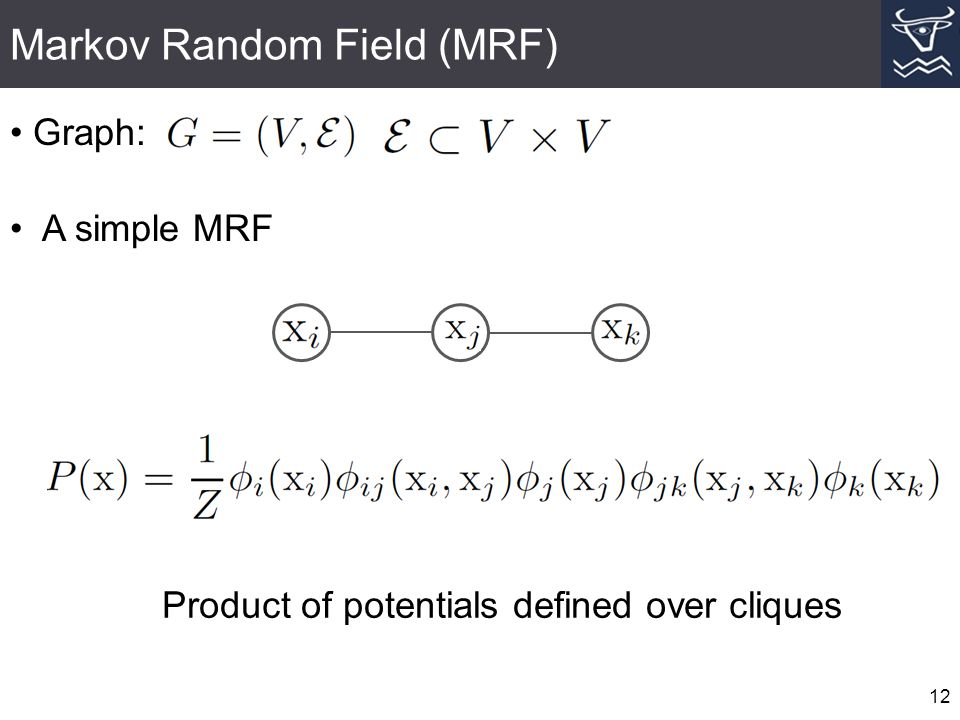 Markov Random Field (MRF) 12 Graph: A simple MRF Product of potentials defined over cliques
