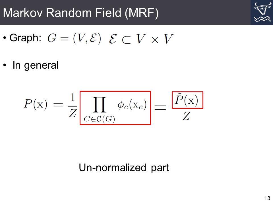 Markov Random Field (MRF) 13 Graph: In general Un-normalized part