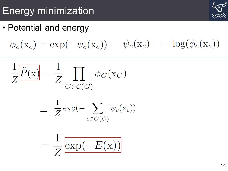 Energy minimization 14 Potential and energy