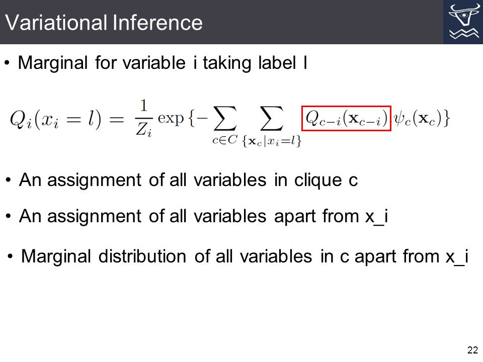 Variational Inference 22 Marginal for variable i taking label l An assignment of all variables in clique c An assignment of all variables apart from x_i Marginal distribution of all variables in c apart from x_i