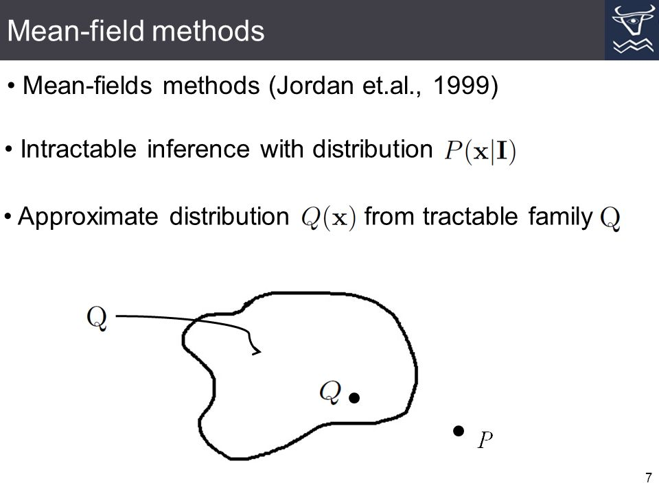 Mean-field methods 7 Intractable inference with distribution Approximate distribution from tractable family Mean-fields methods (Jordan et.al., 1999)