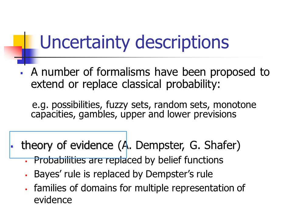 A number of formalisms have been proposed to extend or replace classical probability: e.g. possibilities, fuzzy sets, random sets, monotone capacities