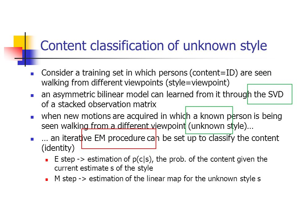 Content classification of unknown style Consider a training set in which persons (content=ID) are seen walking from different viewpoints (style=viewpo