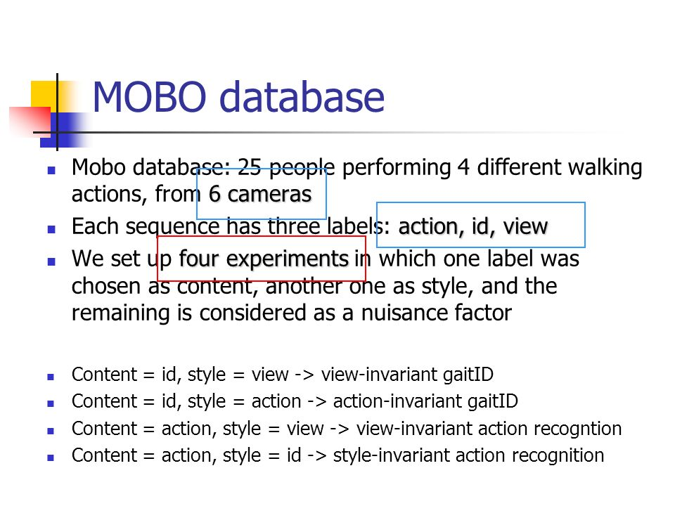 MOBO database 6 cameras Mobo database: 25 people performing 4 different walking actions, from 6 cameras action, id, view Each sequence has three label