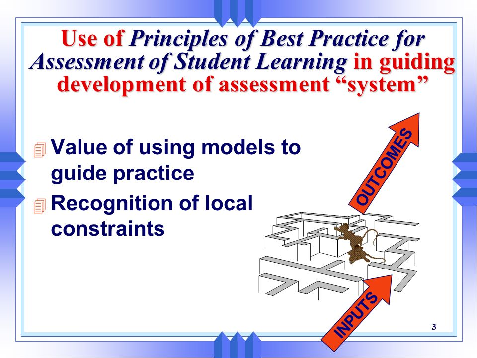 2 Overview 4 Use of models to guide institutional strategies for improving student learning 4 Assessing student learning 4 Best practices for student