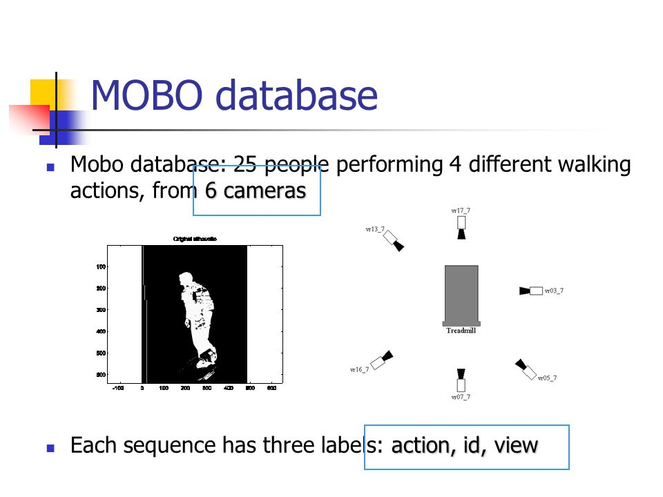 6 cameras Mobo database: 25 people performing 4 different walking actions, from 6 cameras action, id, view Each sequence has three labels: action, id, view MOBO database