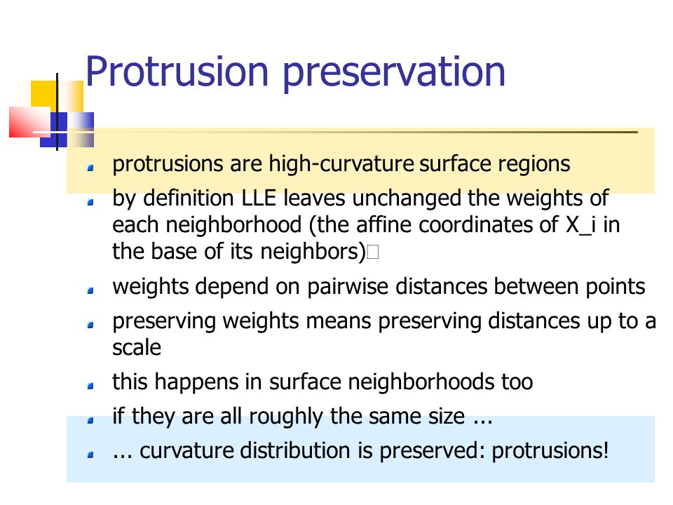 Protrusion preservation protrusions are high-curvature surface regions by definition LLE leaves unchanged the weights of each neighborhood (the affine