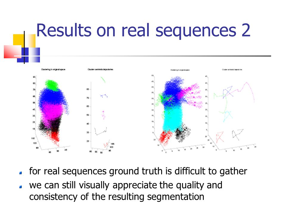 Results on real sequences 2 for real sequences ground truth is difficult to gather we can still visually appreciate the quality and consistency of the