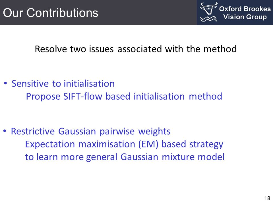 Our Contributions 18 Sensitive to initialisation Propose SIFT-flow based initialisation method Restrictive Gaussian pairwise weights Expectation maxim