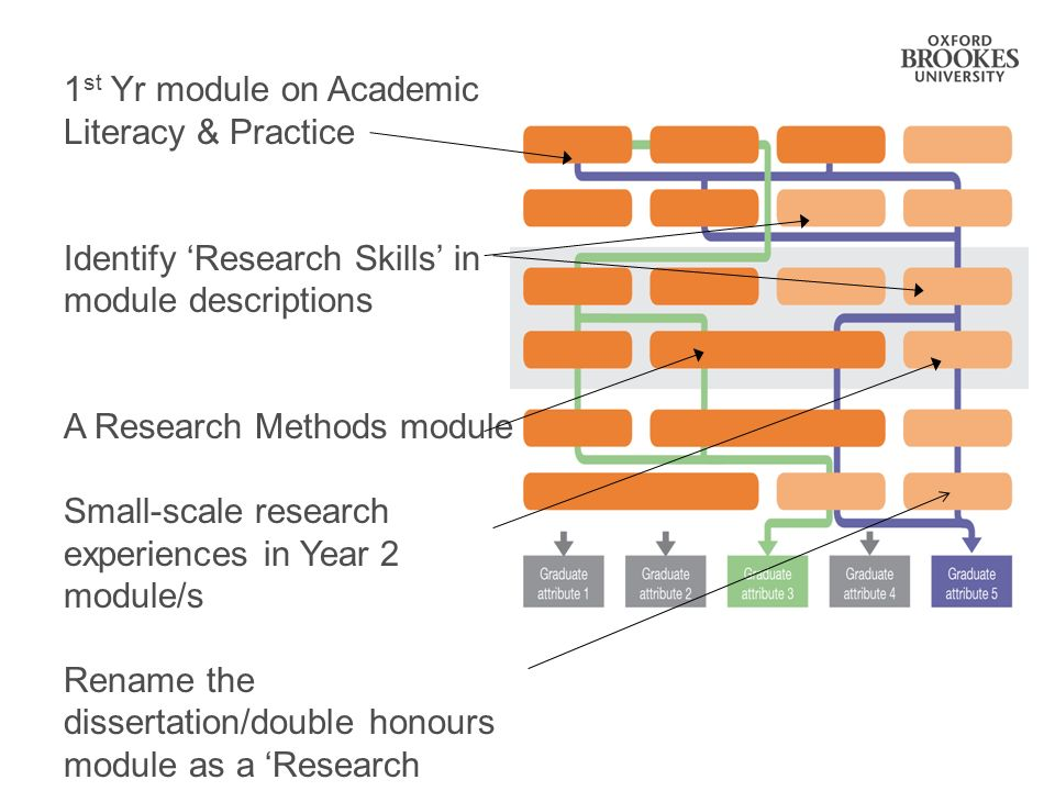 1 st Yr module on Academic Literacy & Practice Identify Research Skills in module descriptions A Research Methods module Small-scale research experiences in Year 2 module/s Rename the dissertation/double honours module as a Research Project