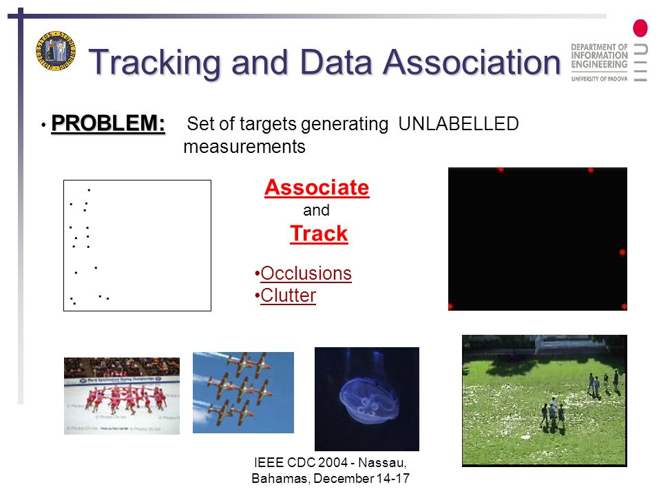 IEEE CDC 2004 - Nassau, Bahamas, December 14-17 14 Results Real data from a motion capture system Rapid motion High numbers of false detections Occlusions lasting several frames