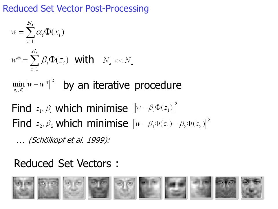 Reduced Set Vector Post-Processing with by an iterative procedure Find which minimise … (Schölkopf et al. 1999): Reduced Set Vectors :