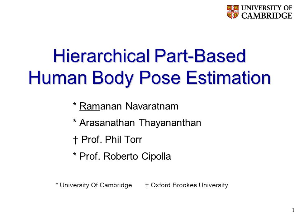 1 Hierarchical Part-Based Human Body Pose Estimation * Ramanan Navaratnam * Arasanathan Thayananthan Prof.