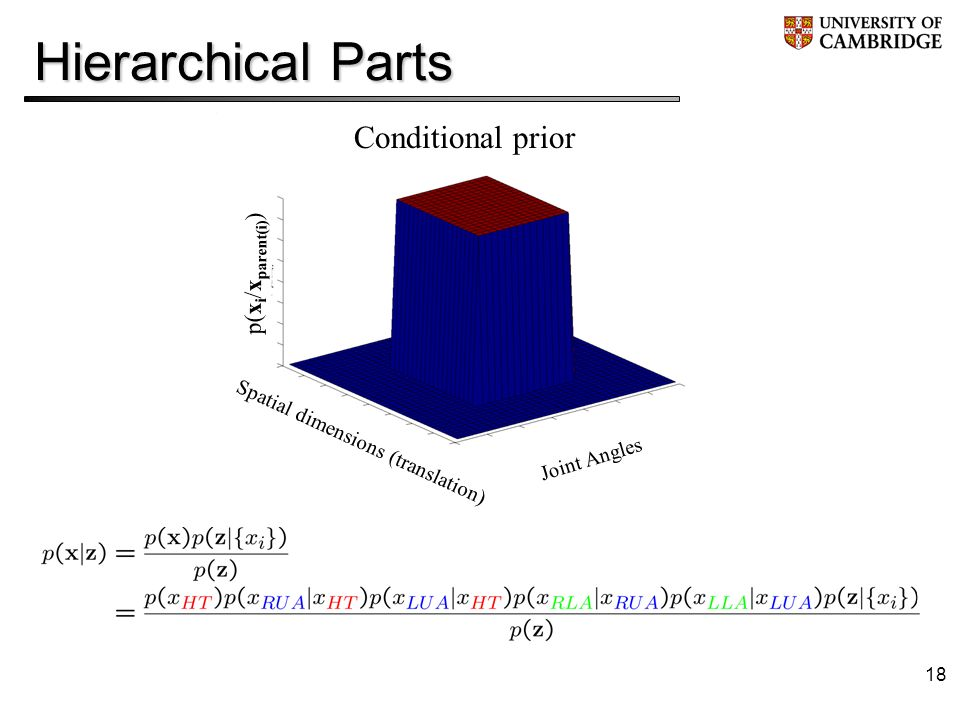 18 Hierarchical Parts Conditional prior p(x i /x parent(i) ) Spatial dimensions (translation) Joint Angles