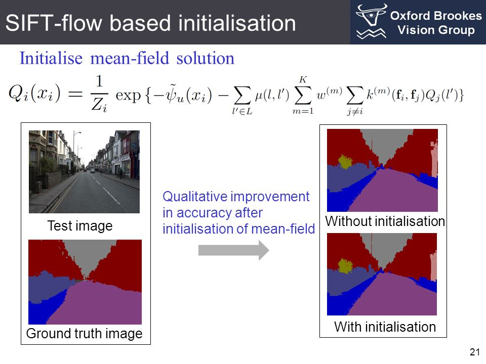 SIFT-flow based initialisation 21 Initialise mean-field solution Test image Ground truth image With initialisation Without initialisation Qualitative improvement in accuracy after initialisation of mean-field
