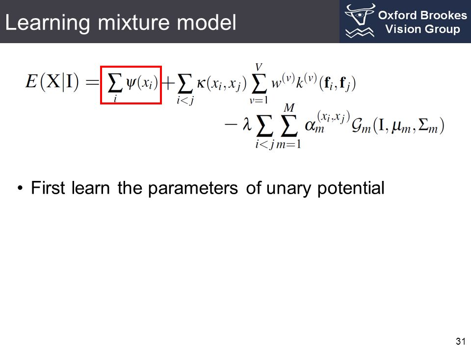 Learning mixture model 31 First learn the parameters of unary potential