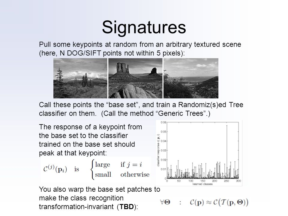 Signatures Call these points the base set, and train a Randomiz(s)ed Tree classifier on them. (Call the method Generic Trees.) Pull some keypoints at