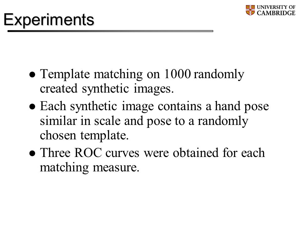 Experiments Template matching on 1000 randomly created synthetic images.