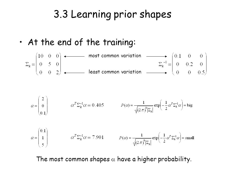 3.3 Learning prior shapes At the end of the training: most common variation least common variation The most common shapes have a higher probability.
