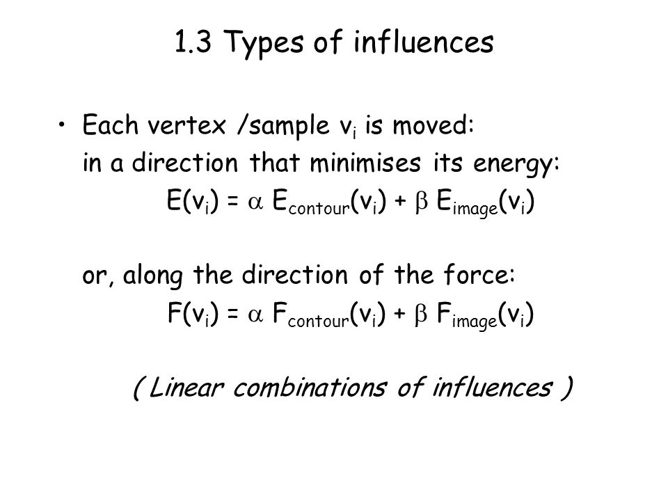 1.3 Types of influences Each vertex /sample v i is moved: in a direction that minimises its energy: E(v i ) = E contour (v i ) + E image (v i ) or, along the direction of the force: F(v i ) = F contour (v i ) + F image (v i ) ( Linear combinations of influences )