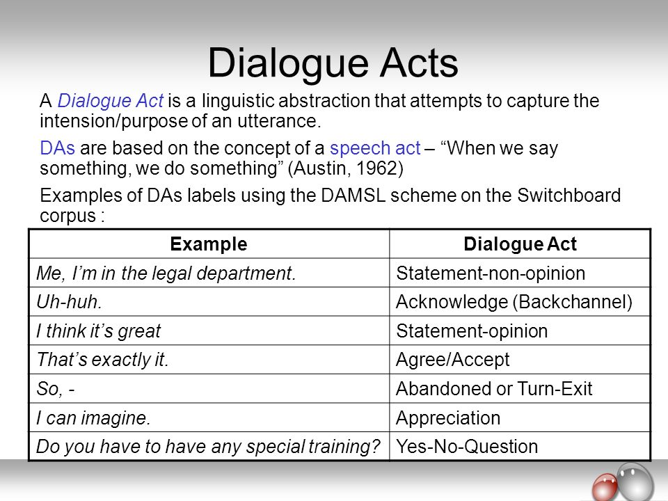 Dialogue Acts A Dialogue Act is a linguistic abstraction that attempts to capture the intension/purpose of an utterance. DAs are based on the concept