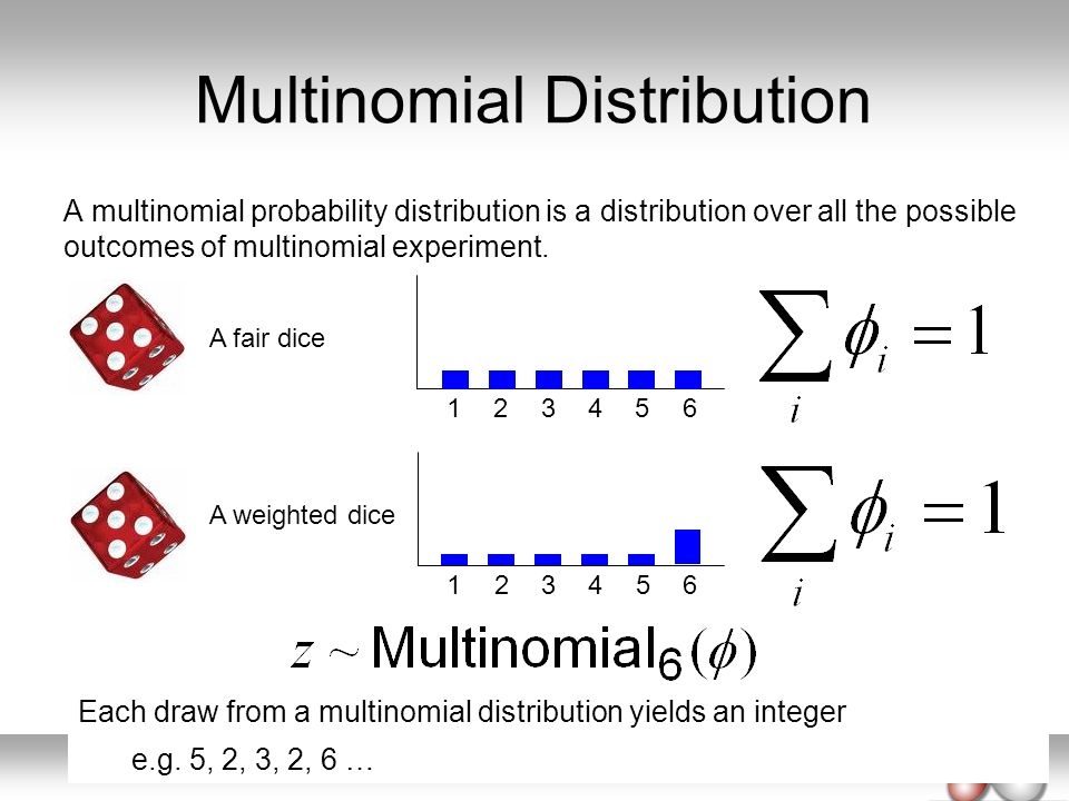 Multinomial Distribution A multinomial probability distribution is a distribution over all the possible outcomes of multinomial experiment. 123456 A f