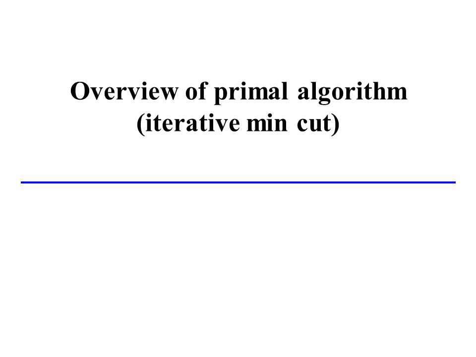 Overview of primal algorithm (iterative min cut)