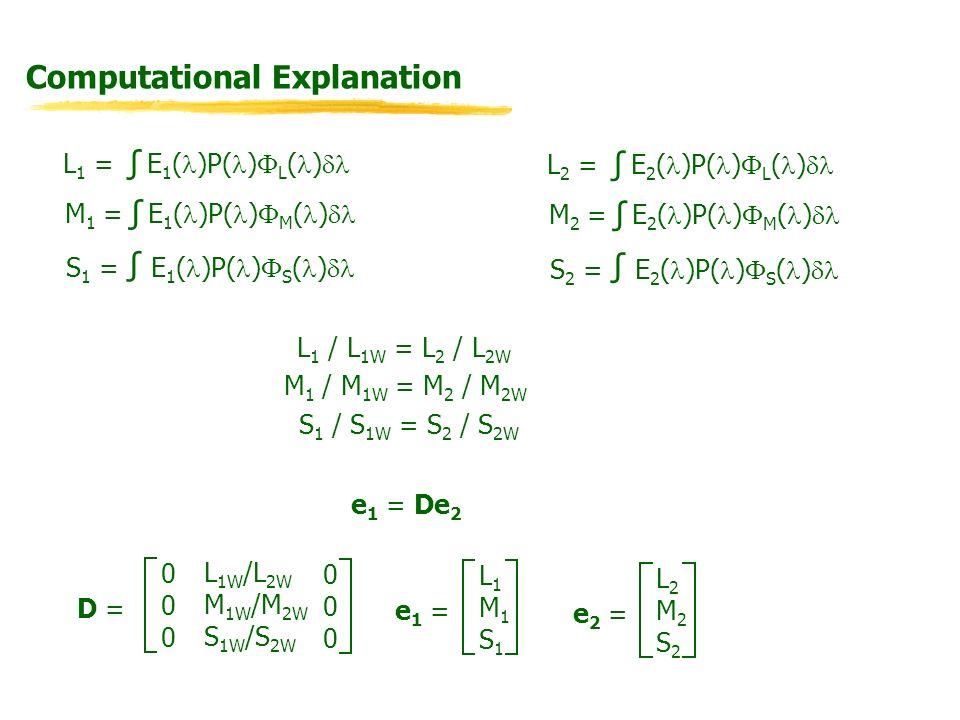 Computational Explanation L 1 = E 1 ( )P( ) L ( ) M 1 = E 1 ( )P( ) M ( ) S 1 = E 1 ( )P( ) S ( ) L 2 = E 2 ( )P( ) L ( ) M 2 = E 2 ( )P( ) M ( ) S 2 = E 2 ( )P( ) S ( ) L 1 / L 1W = L 2 / L 2W M 1 / M 1W = M 2 / M 2W S 1 / S 1W = S 2 / S 2W e 1 = De 2 D = L 1W /L 2W M 1W /M 2W S 1W /S 2W 000000 000000 e 1 = L1M1S1L1M1S1 e 2 = L2M2S2L2M2S2