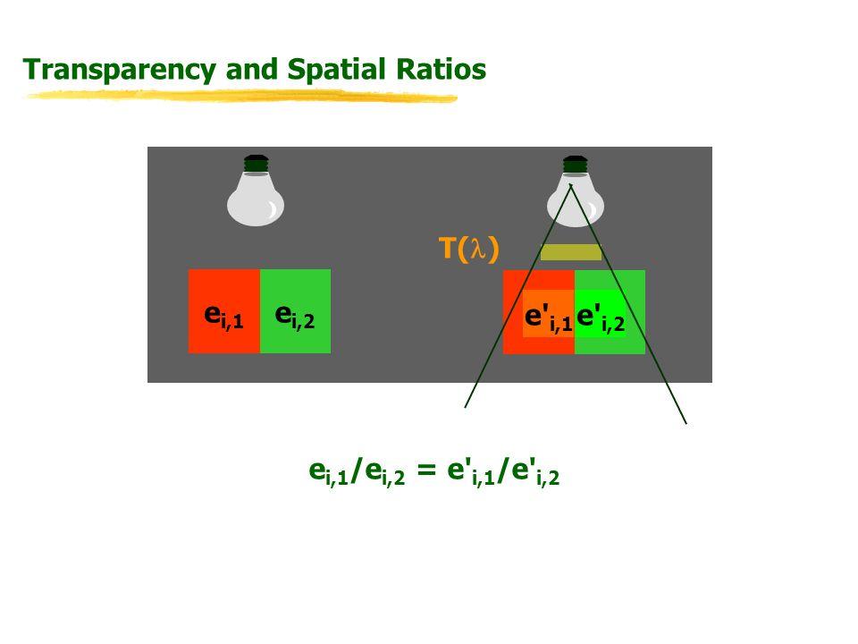 Transparency and Spatial Ratios e i,1 /e i,2 = e i,1 /e i,2 e i,1 e i,2 T( ) e i,1 e i,2