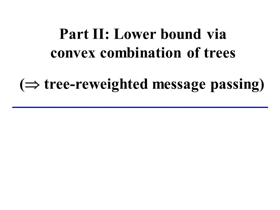 Part II: Lower bound via convex combination of trees ( tree-reweighted message passing)