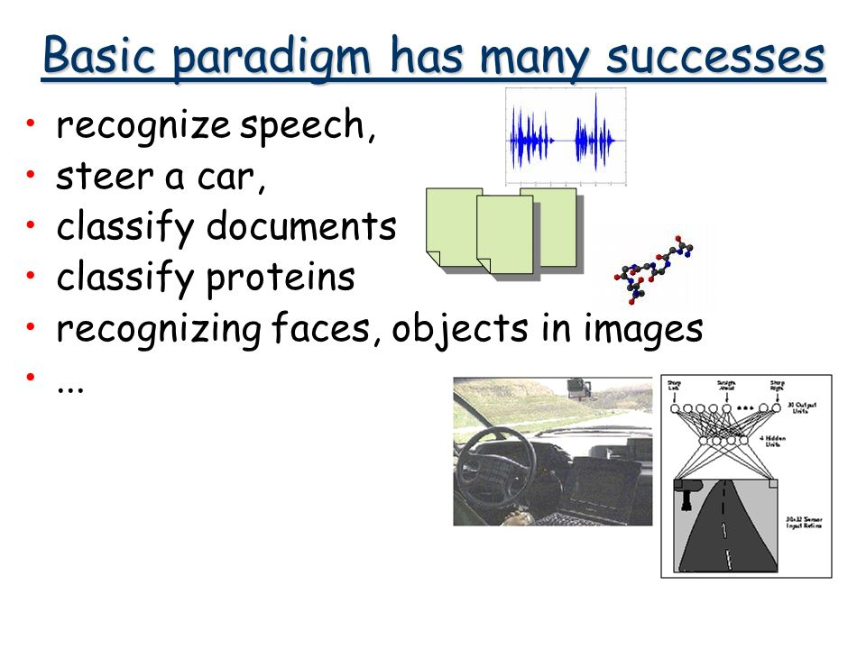Basic paradigm has many successes recognize speech, steer a car, classify documents classify proteins recognizing faces, objects in images...