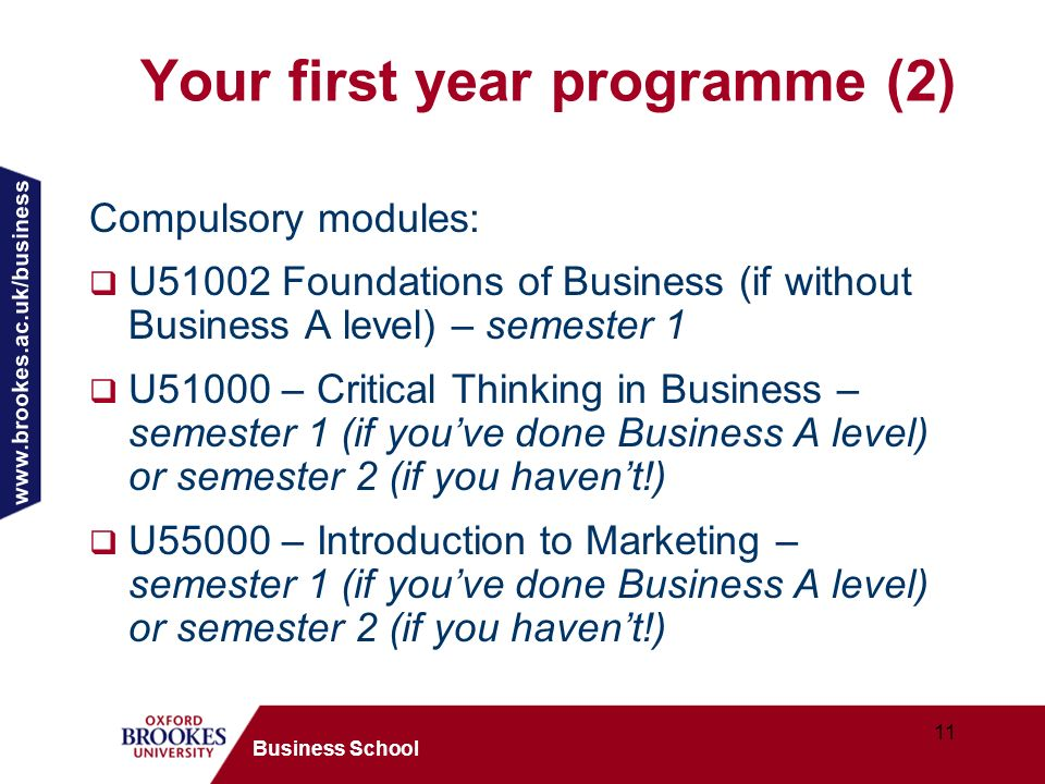 11 Business School Your first year programme (2) Compulsory modules: U51002 Foundations of Business (if without Business A level) – semester 1 U51000 – Critical Thinking in Business – semester 1 (if youve done Business A level) or semester 2 (if you havent!) U55000 – Introduction to Marketing – semester 1 (if youve done Business A level) or semester 2 (if you havent!)