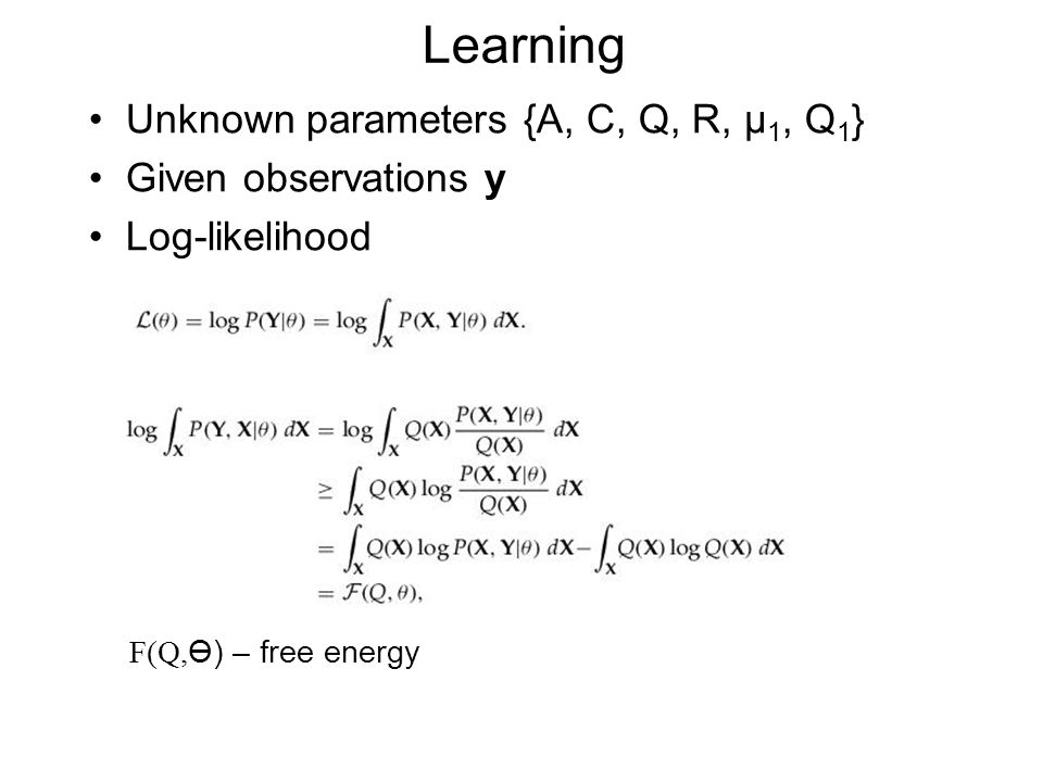 Learning Unknown parameters {A, C, Q, R, µ 1, Q 1 } Given observations y Log-likelihood F(Q, Ө) – free energy