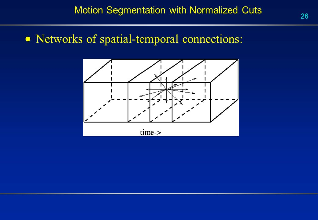 26 Motion Segmentation with Normalized Cuts Networks of spatial-temporal connections: