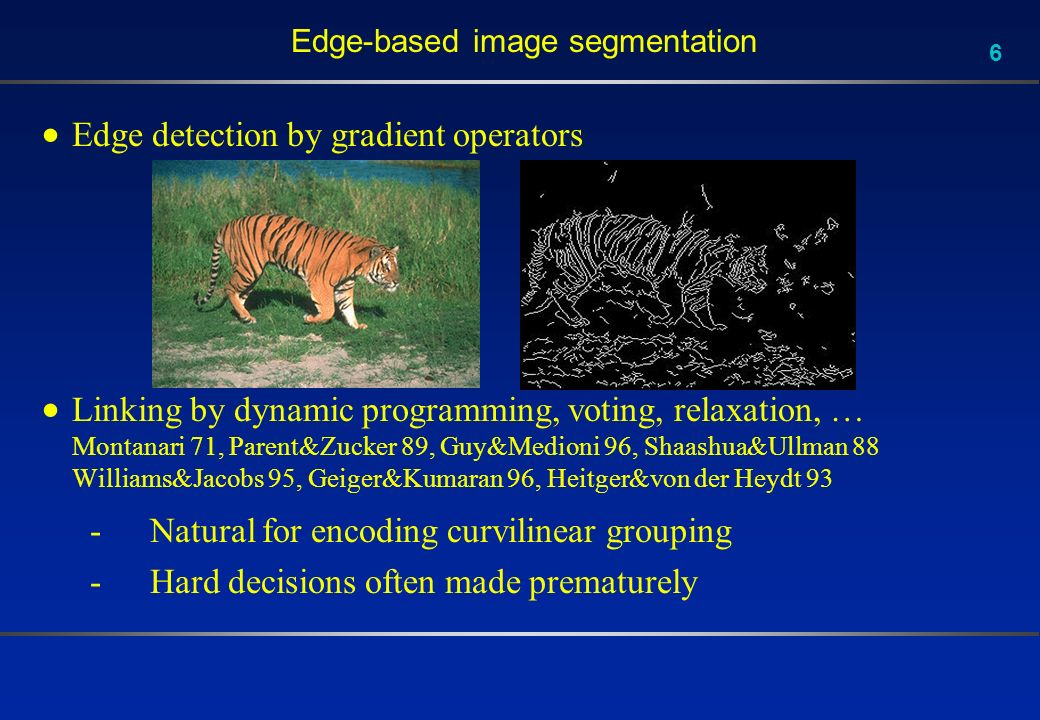 6 Edge-based image segmentation Edge detection by gradient operators Linking by dynamic programming, voting, relaxation, … Montanari 71, Parent&Zucker