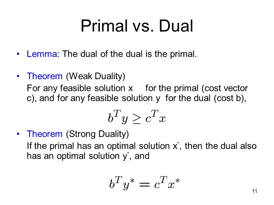 11 Primal vs. Dual Lemma: The dual of the dual is the primal.